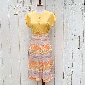 Vintage 70s Bonwit Teller Novelty Print Midi Skirt